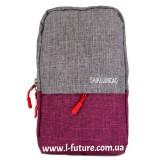 Мужская сумка через плечо Арт. 6117 Цвет Серый С Фиолетовым