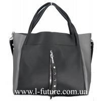 Женская Сумка Арт. F 8054 Цвет Чёрный С Серебряной Вставкой