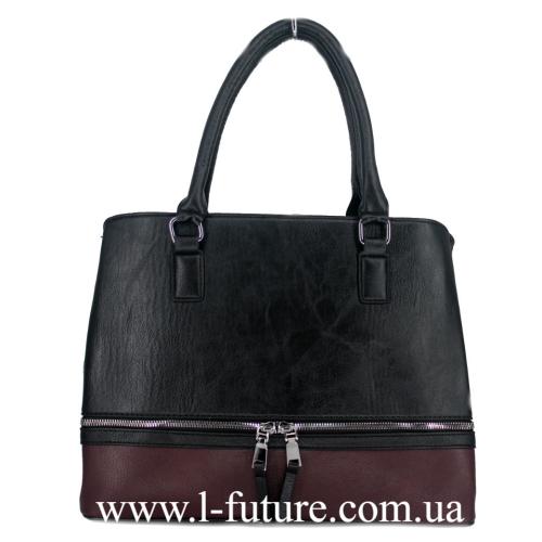 Женская Сумка Арт. F 8304 Цвет Чёрный С Бордо
