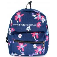 Женский рюкзак Арт. К-7 Цвет Синий, с красными цветочками