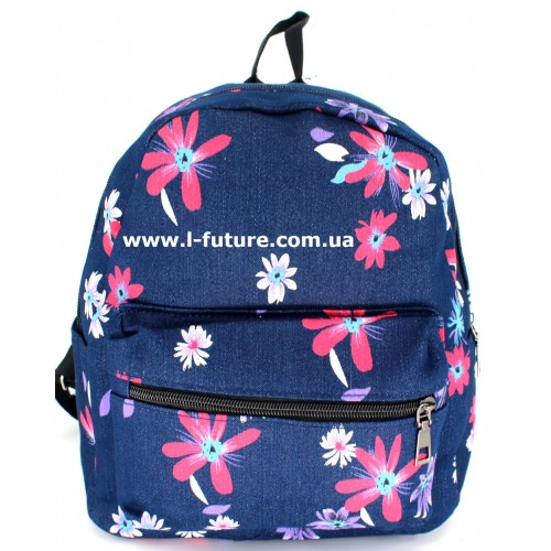 Женский рюкзак Арт. К-7 Цвет Синий, с красными цветочками ID-1087