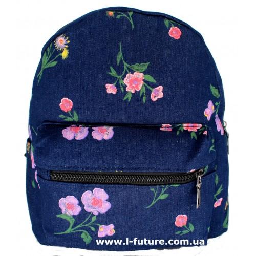 Женский рюкзак Арт. К-7 Цвет Синий, с маленькими цветочками ID-1401
