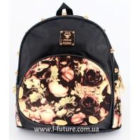 Рюкзак Арт. К-6 Цвет Чёрный, с коричневым цветком
