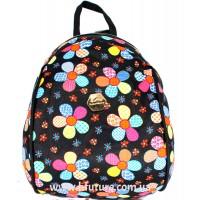 Женский рюкзак Арт. D 618 Цвет Чёрный ( Цветы)
