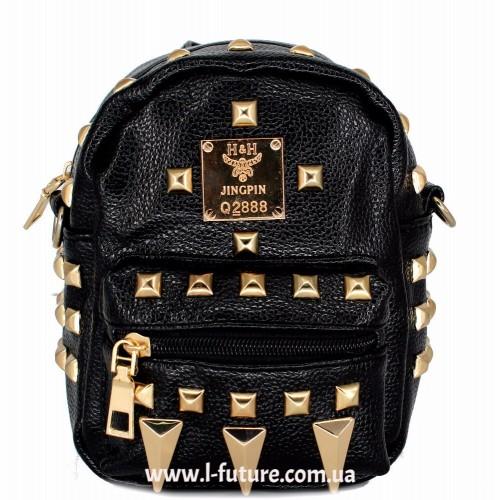 Женская сумка-рюкзак Арт. К-62  Цвет Чёрный ID-1968