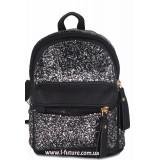 Женская сумка-рюкзак Арт. 202  Цвет Чёрный С Серым