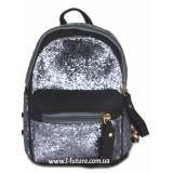 Женская сумка-рюкзак Арт. 202  Цвет Чёрный С Серебром