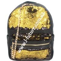 Детский Рюкзак С Пайетками Арт. 182  Цвет Чёрный С Золотом
