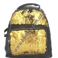 Детский Рюкзак С Пайетками Арт. 183  Цвет Чёрный С Золотом