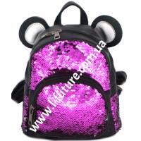 Детский Рюкзак С Пайетками Арт. 185  Цвет Фиолетовый С Серебром