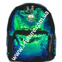 Детский Рюкзак С Пайетками Арт. 186  Цвет Зелёный С Чёрным