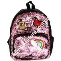 Детский  Рюкзак С Пайетками Арт. 59199 Цвет Розовый С Серебром