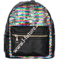 Детский Рюкзак С Пайетками Арт. 59192  Цвет Разноцветный С Серебром